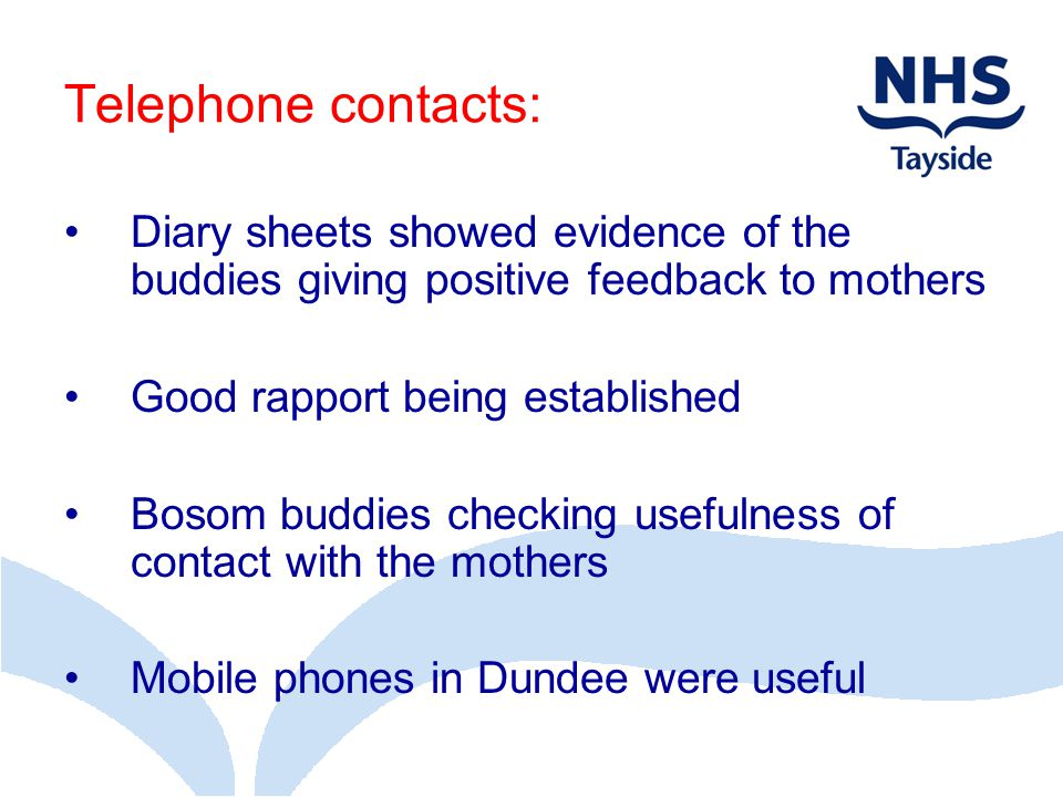 Telephone contacts: Diary sheets showed evidence of the buddies giving positive feedback to mothers.