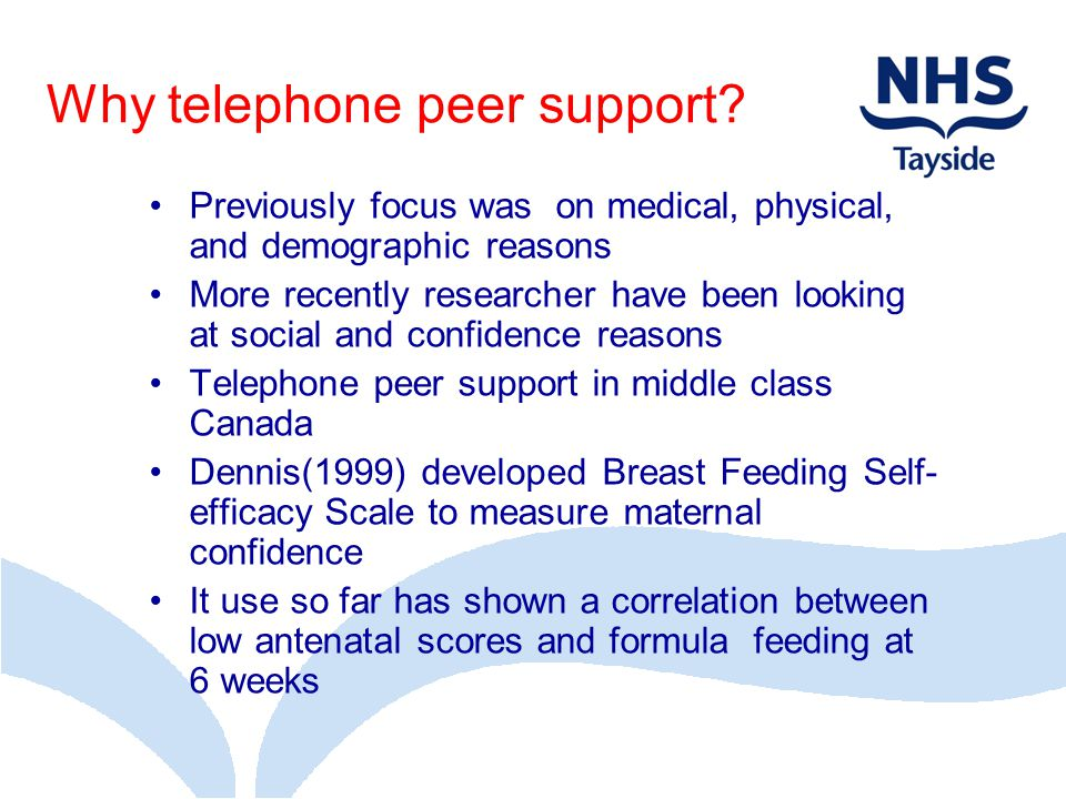 Why telephone peer support