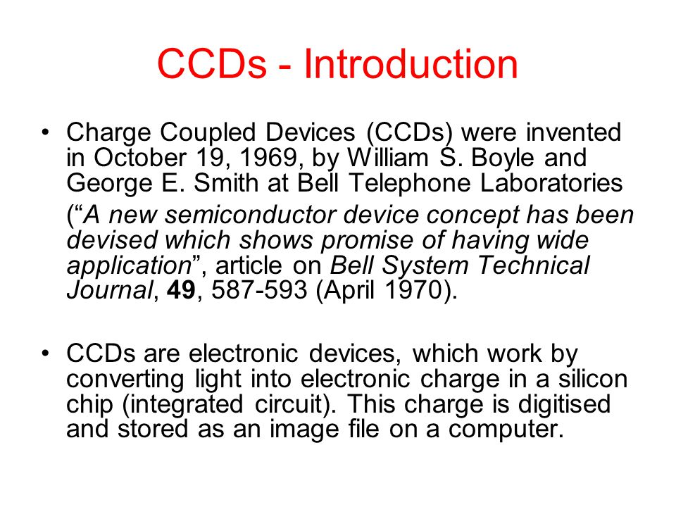 CCDs - Introduction