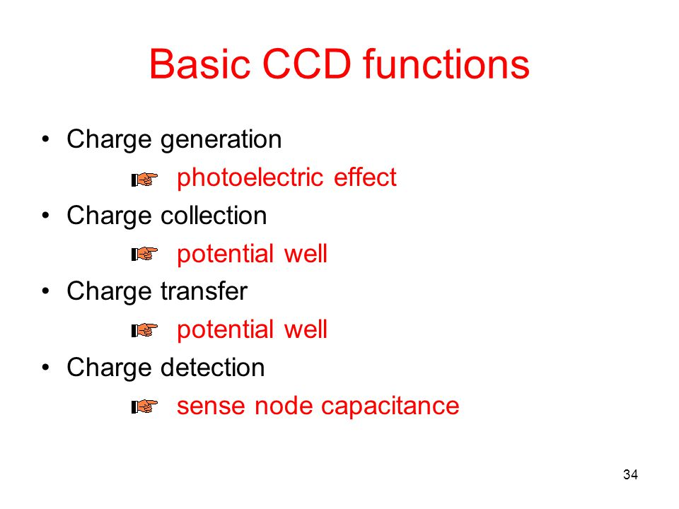Basic CCD functions Charge generation photoelectric effect