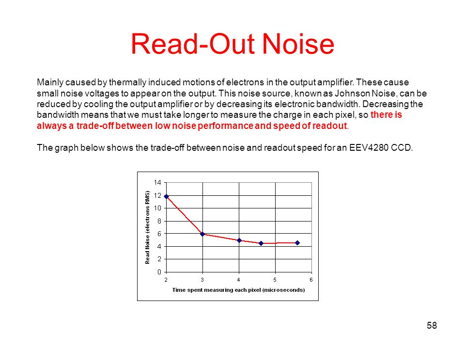 Read-Out Noise Mainly caused by thermally induced motions of electrons in the output amplifier. These cause.