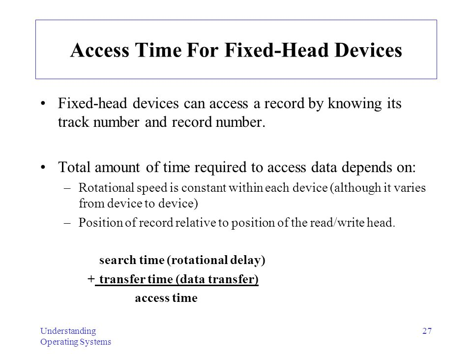 Access Time For Fixed-Head Devices