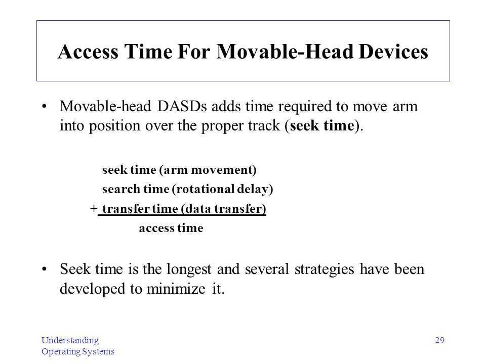 Access Time For Movable-Head Devices