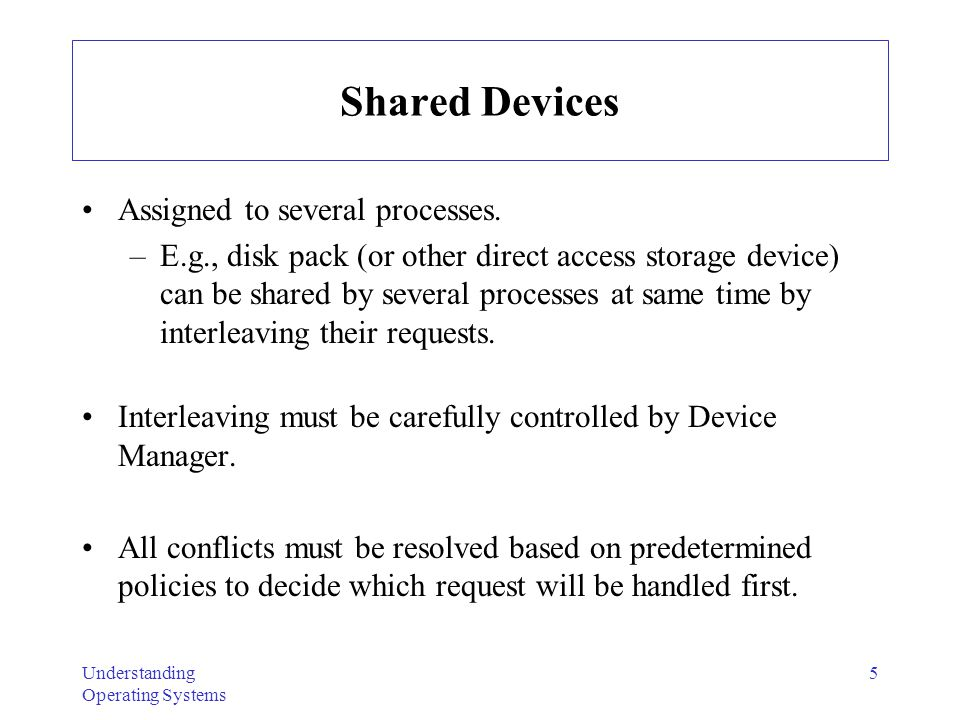 Shared Devices Assigned to several processes.