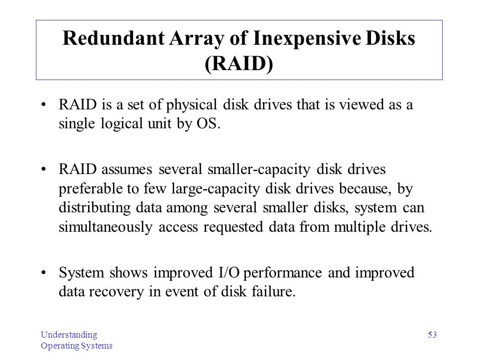 redundancy raid and large logical disk About this raid primer  together to form one large logical  which indicates no redundancy raid 0 is thus usually not used in.
