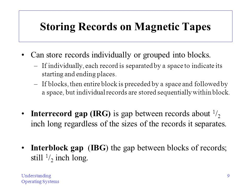 Storing Records on Magnetic Tapes