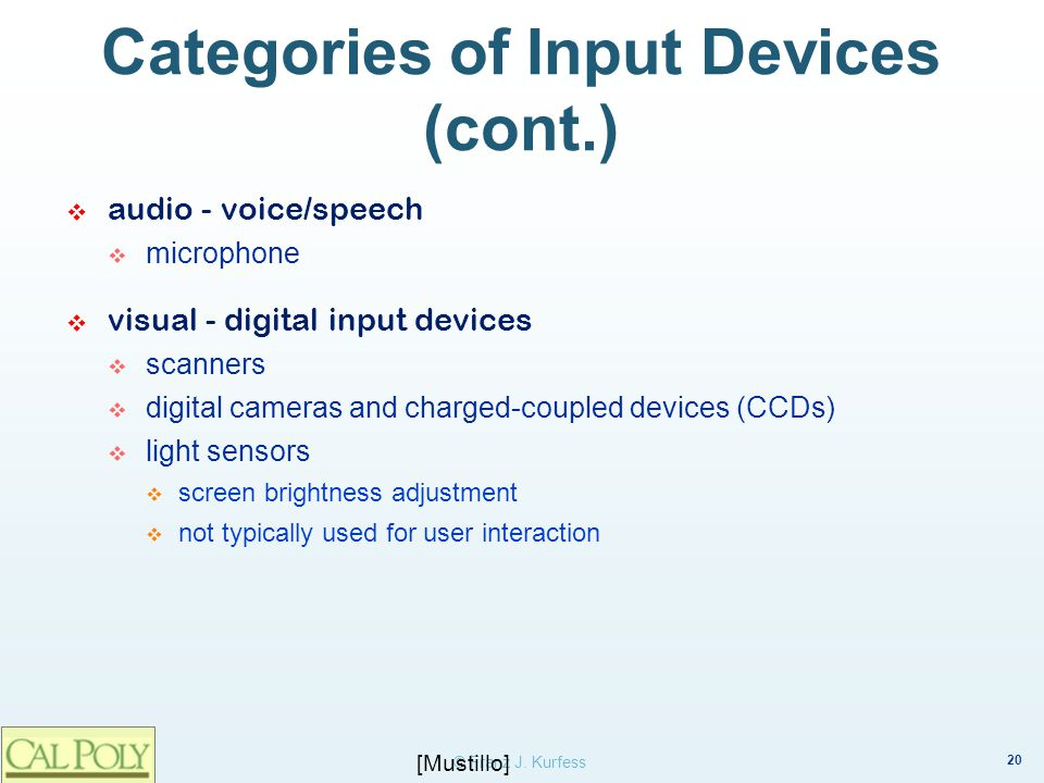 Categories of Input Devices (cont.)