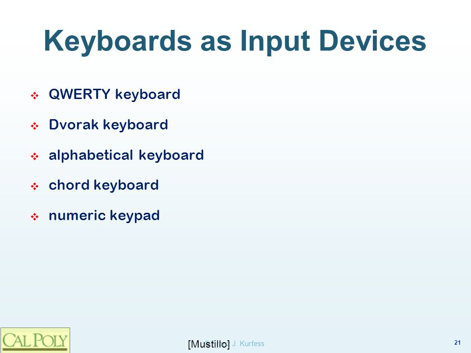 Keyboards as Input Devices