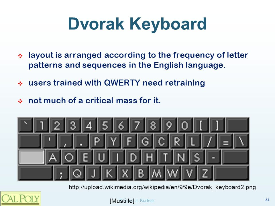 Dvorak Keyboard layout is arranged according to the frequency of letter patterns and sequences in the English language.
