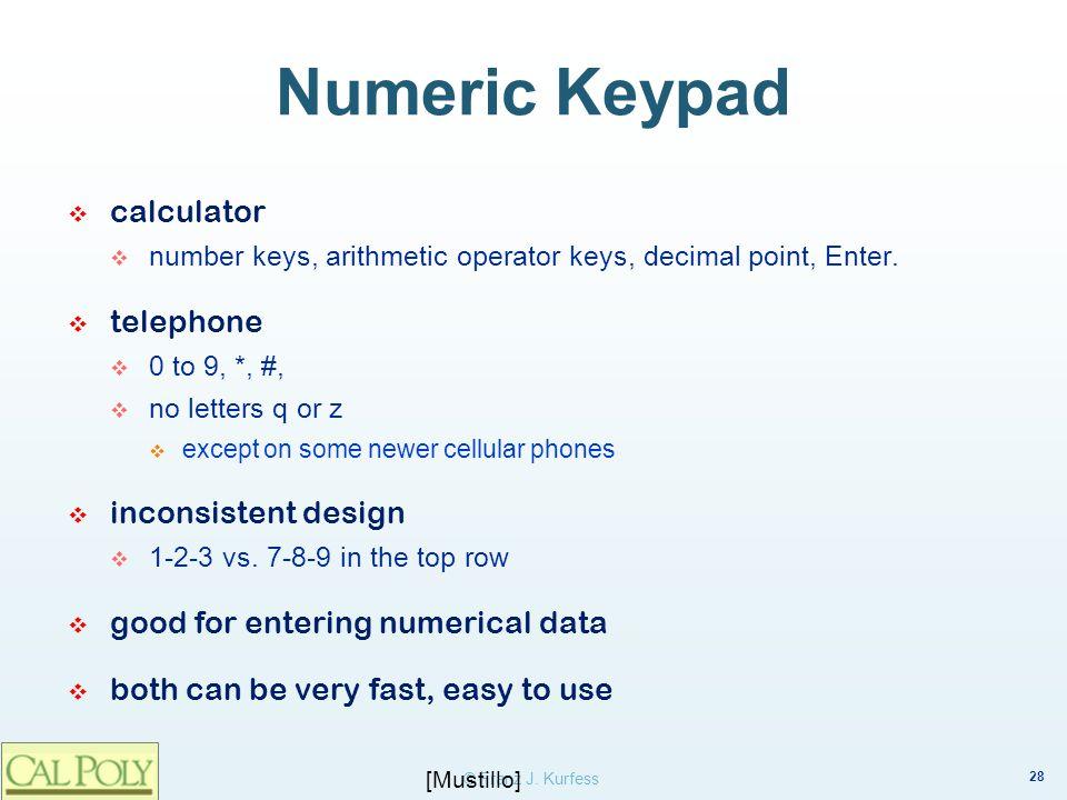 Numeric Keypad calculator. number keys, arithmetic operator keys, decimal point, Enter. telephone.