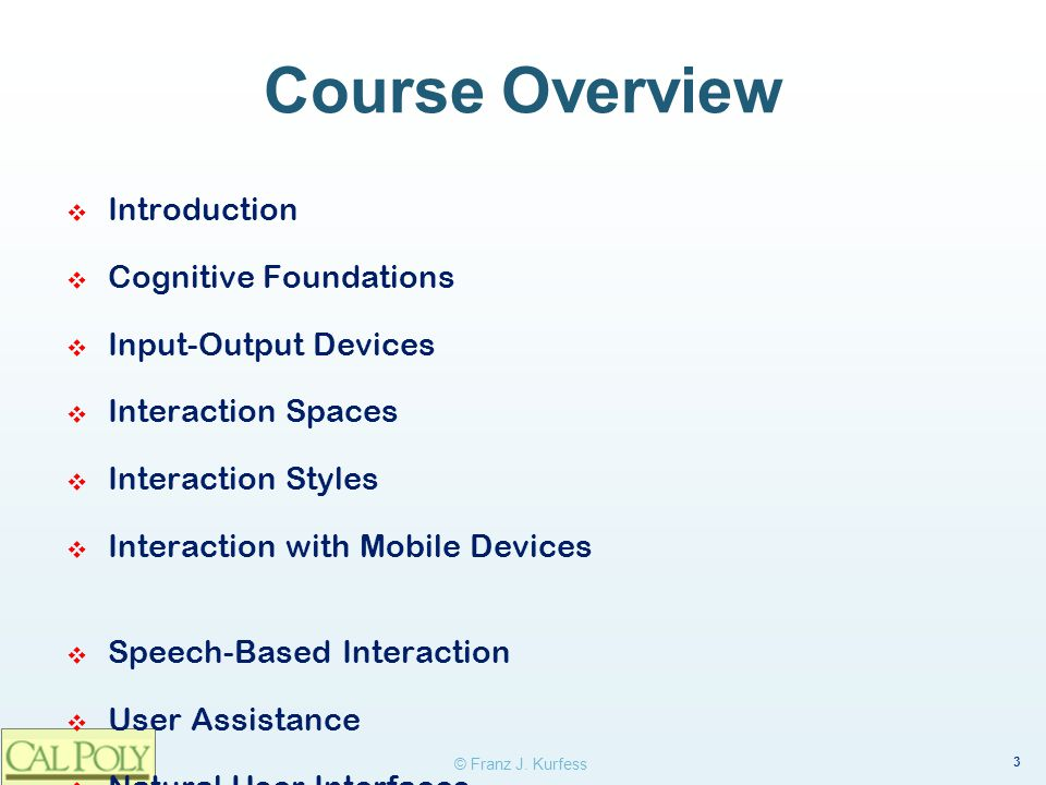 Course Overview Introduction Cognitive Foundations