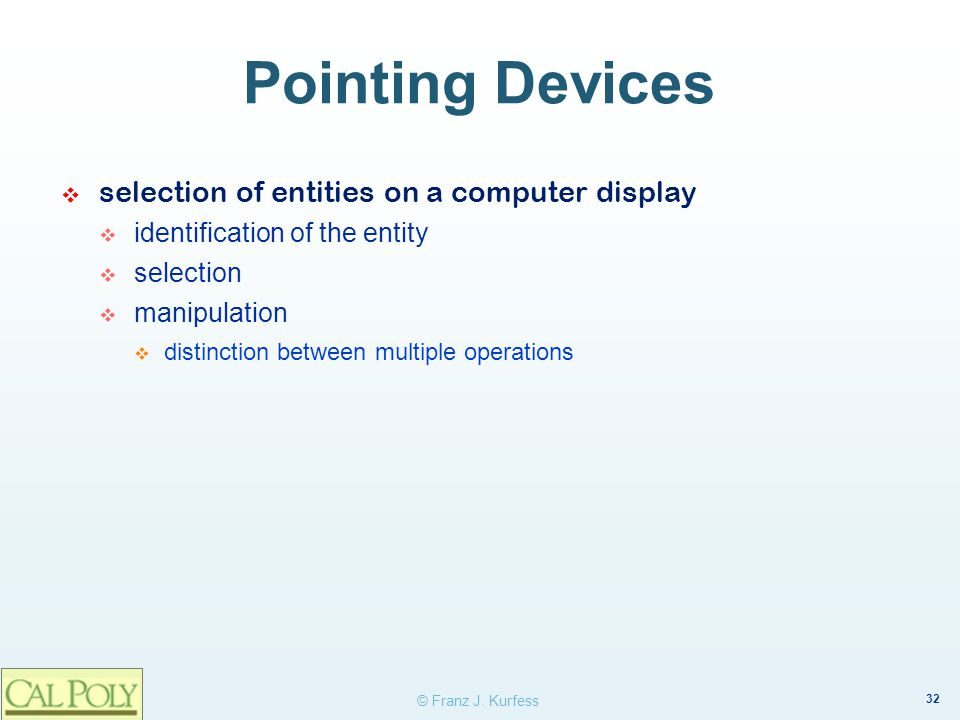 Pointing Devices selection of entities on a computer display