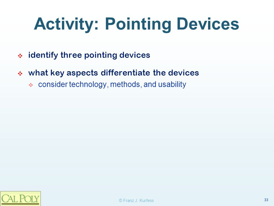 Activity: Pointing Devices