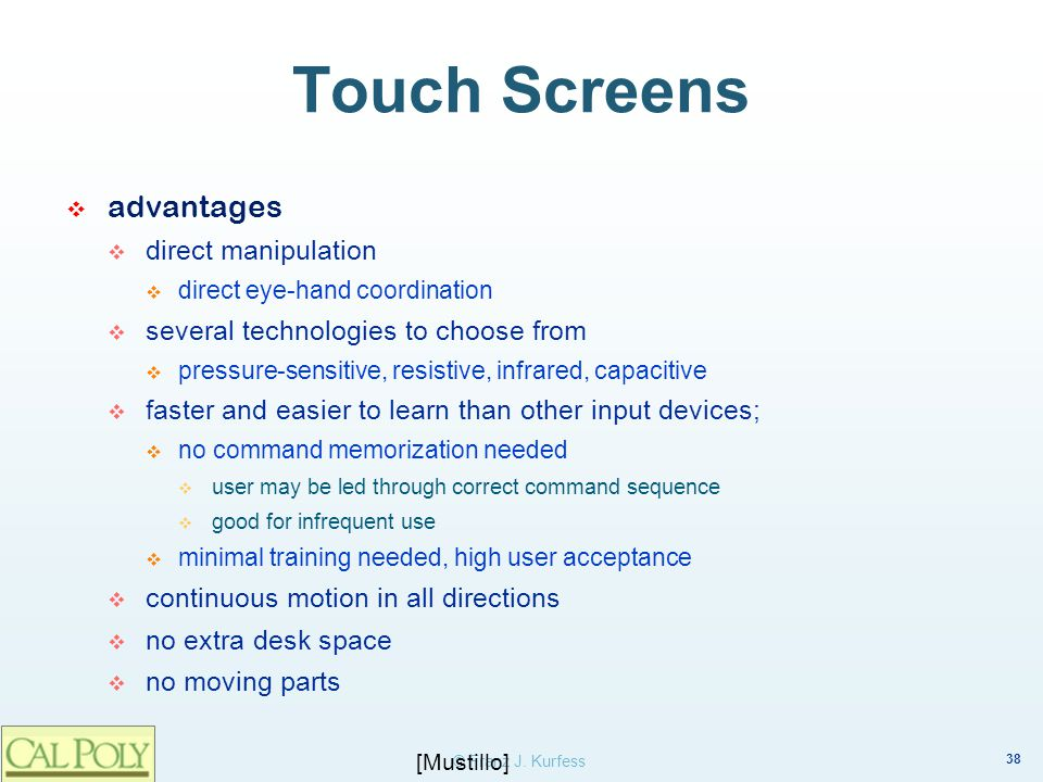 Touch Screens advantages direct manipulation