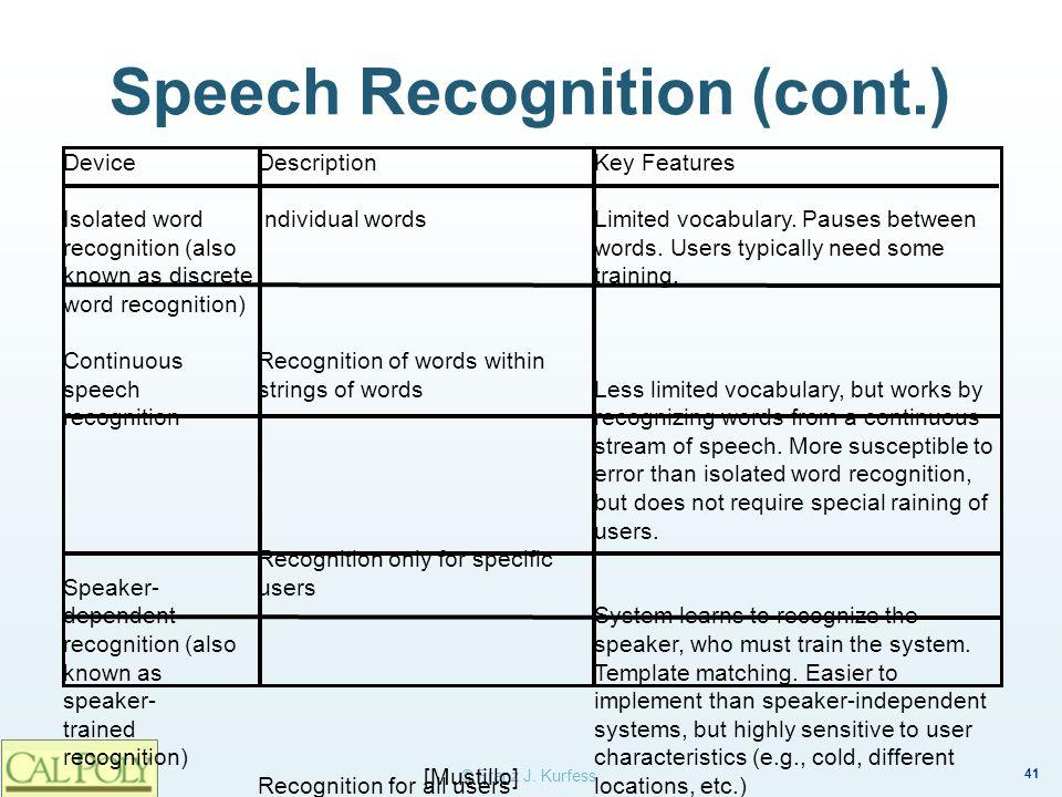 Speech Recognition (cont.)