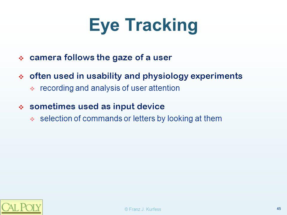 Eye Tracking camera follows the gaze of a user