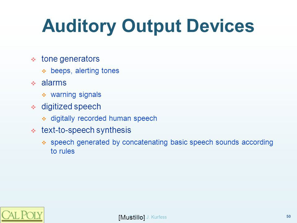 Auditory Output Devices