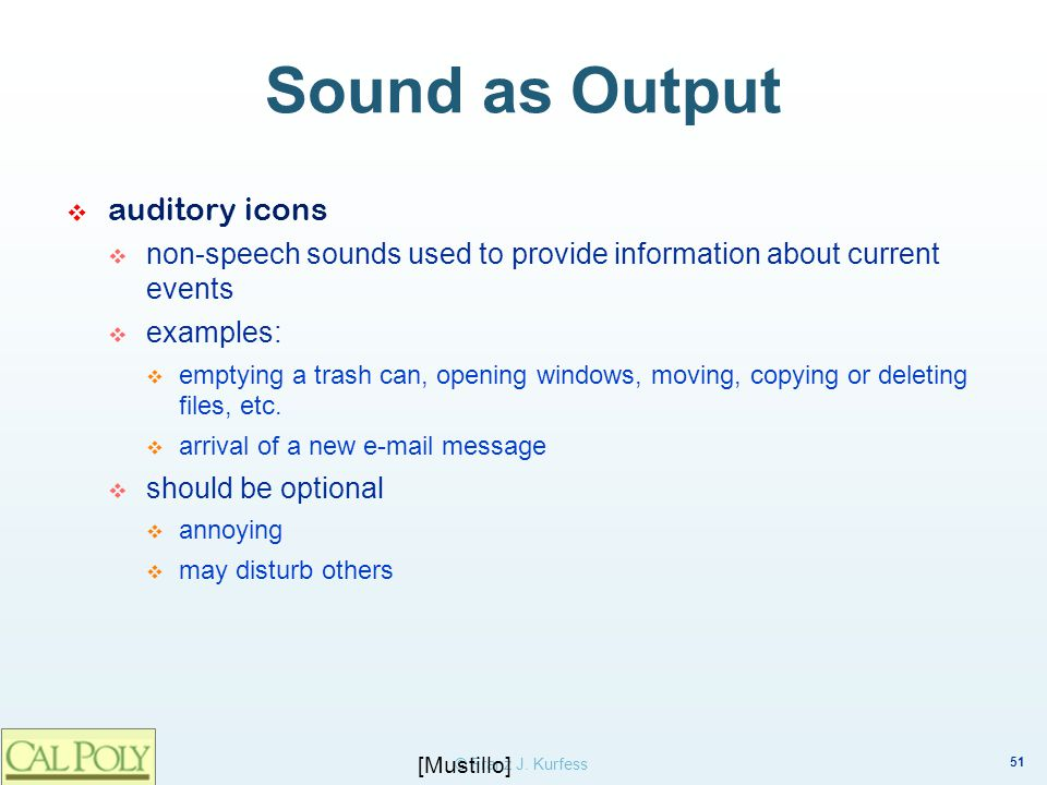 Sound as Output auditory icons