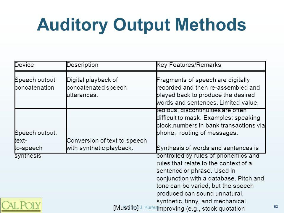 Auditory Output Methods