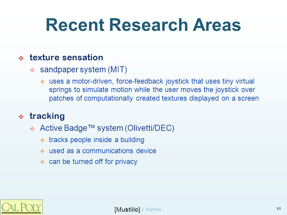 Recent Research Areas texture sensation tracking