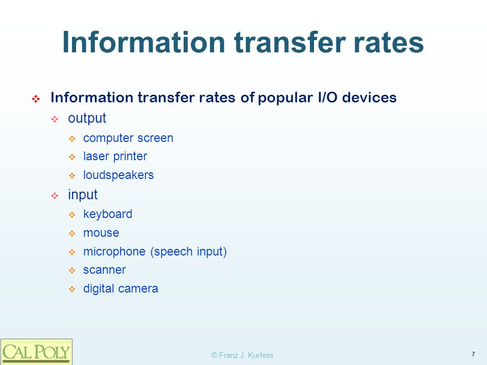 Information transfer rates