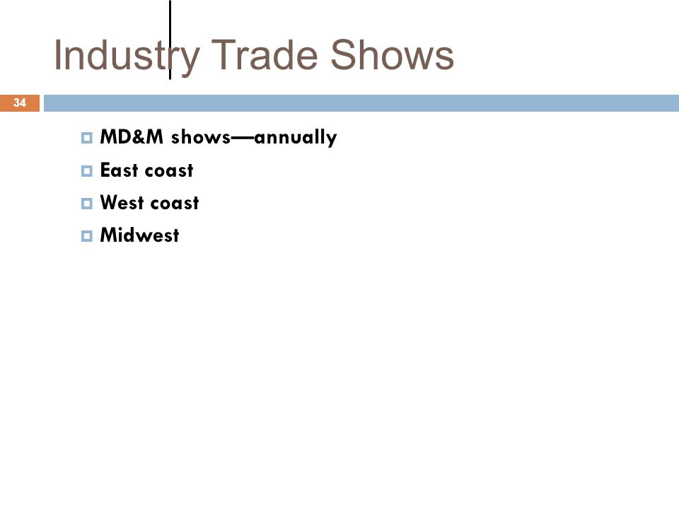 Industry Trade Shows MD&M shows—annually East coast West coast Midwest
