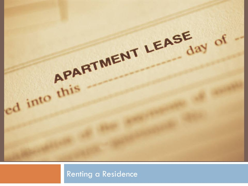 Chapter 21 Renting a Residence