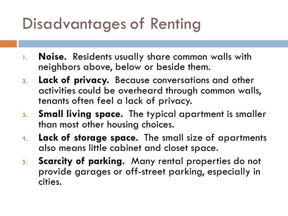 Disadvantages of Renting