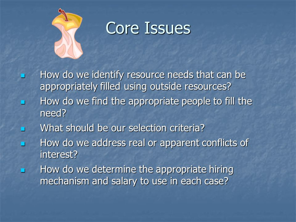Core Issues How do we identify resource needs that can be appropriately filled using outside resources
