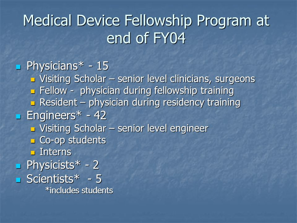 Medical Device Fellowship Program at end of FY04