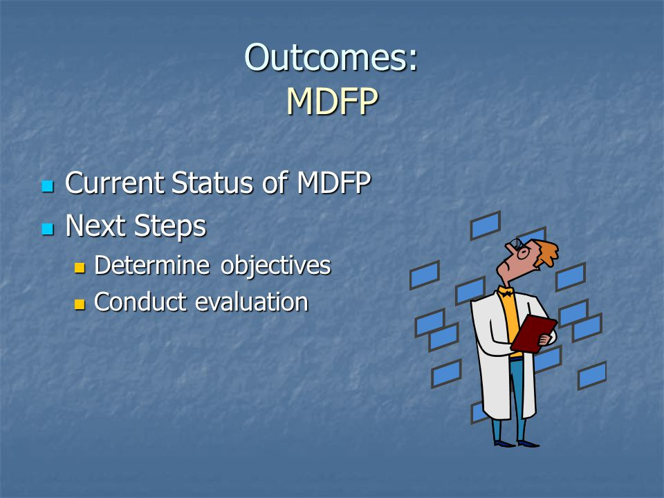 Outcomes: MDFP Current Status of MDFP Next Steps Determine objectives