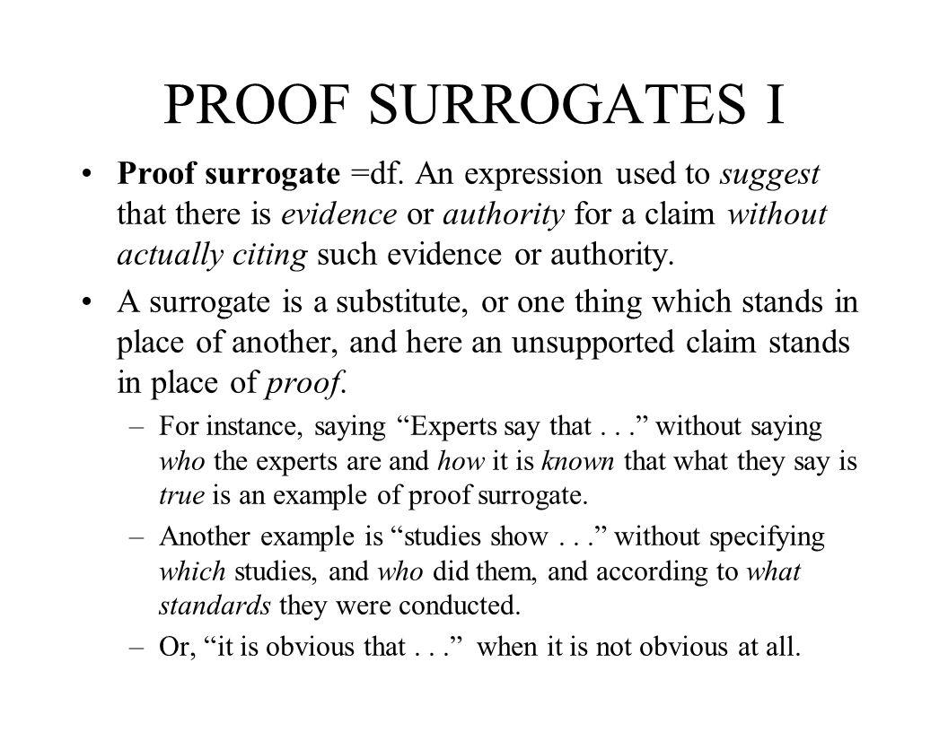 PROOF SURROGATES I