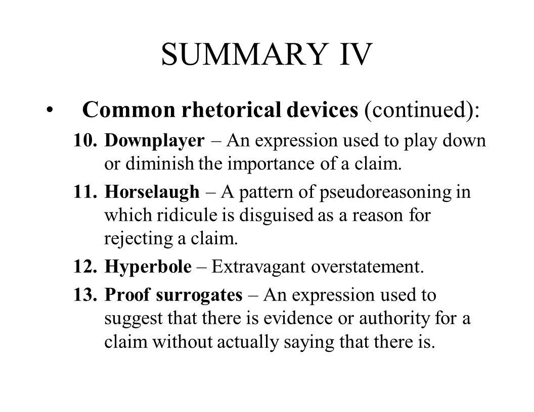 SUMMARY IV Common rhetorical devices (continued):