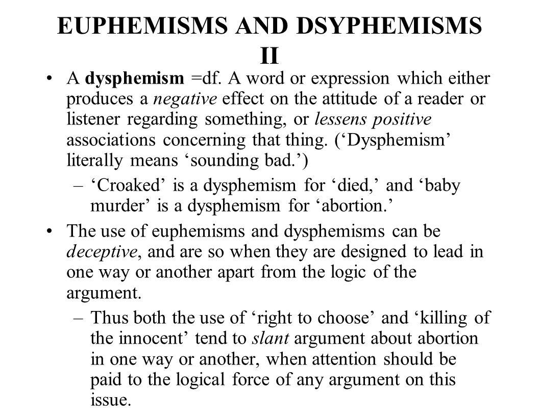 EUPHEMISMS AND DSYPHEMISMS II