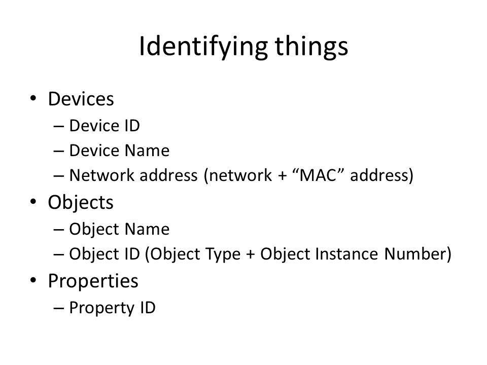 Identifying things Devices Objects Properties Device ID Device Name