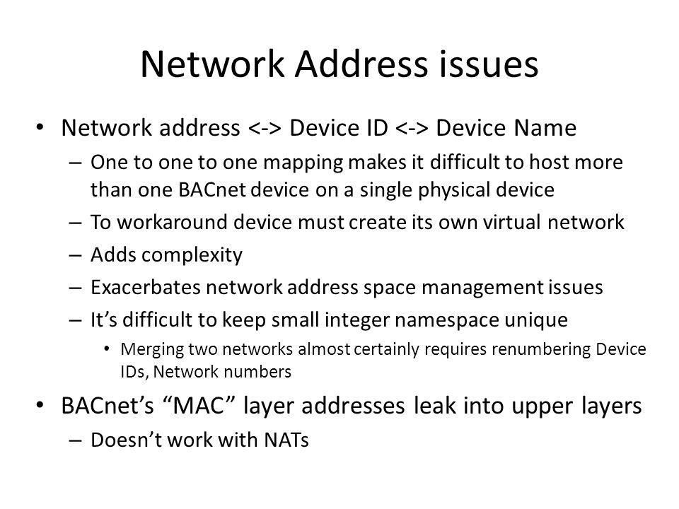 Network Address issues