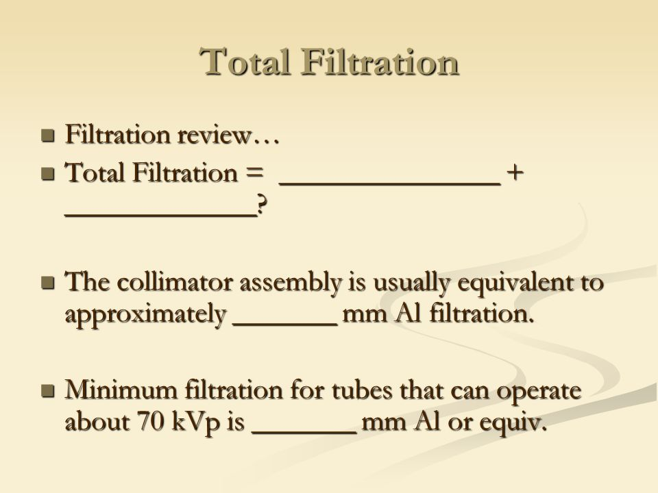 Total Filtration Filtration review…