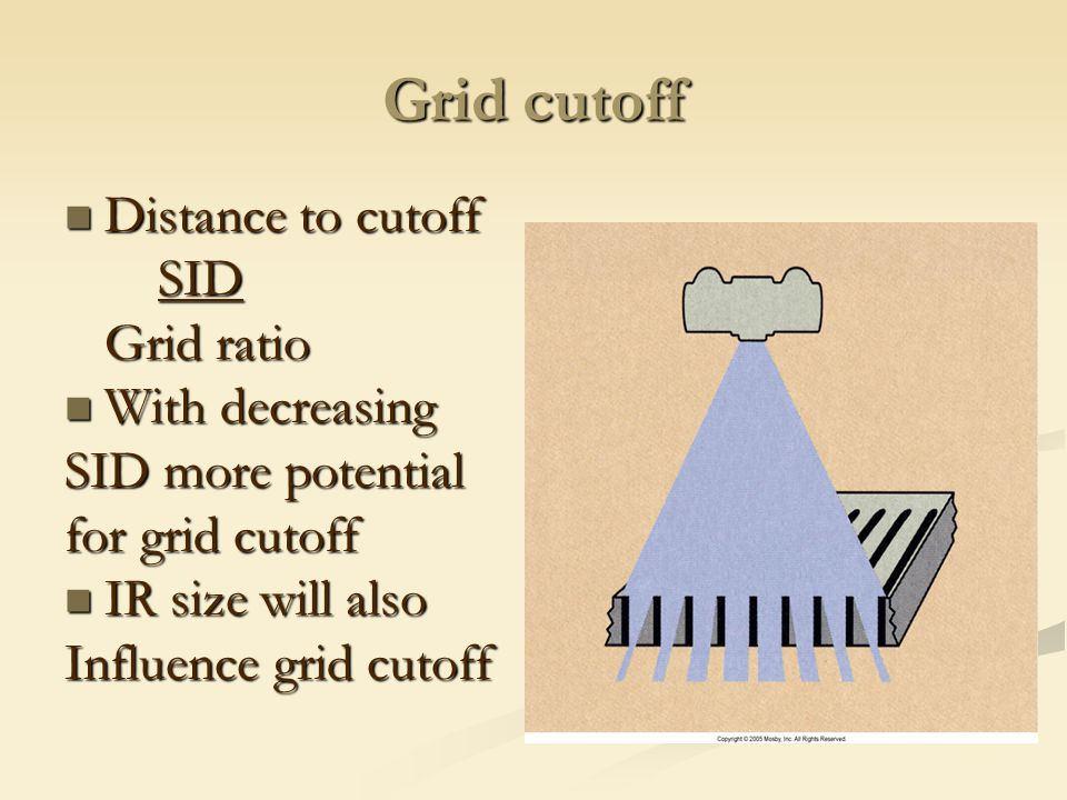 Grid cutoff Distance to cutoff SID Grid ratio With decreasing