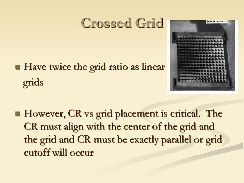 Crossed Grid Have twice the grid ratio as linear grids