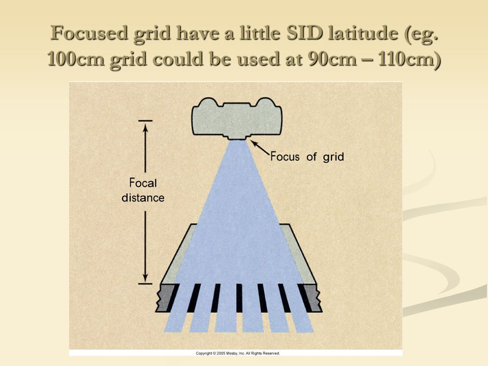 Focused grid have a little SID latitude (eg
