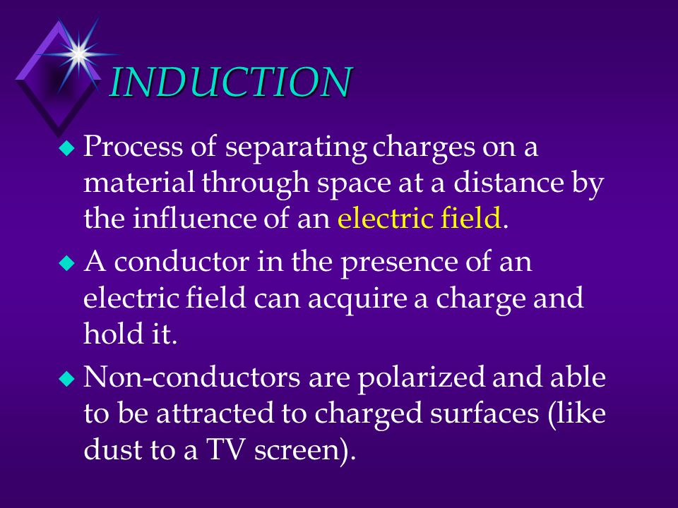 INDUCTION Process of separating charges on a material through space at a distance by the influence of an electric field.