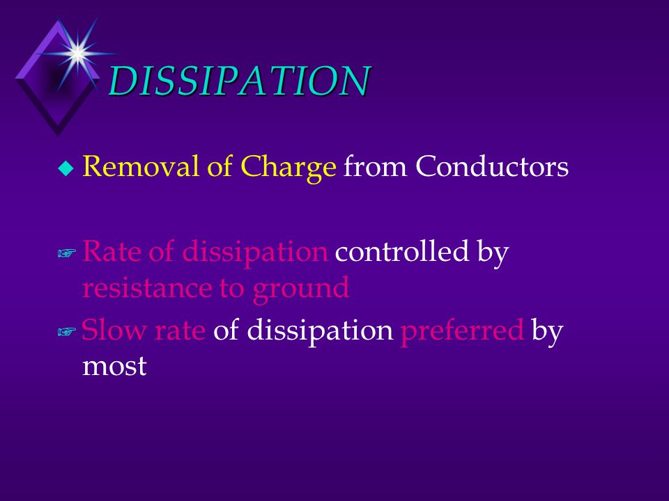 DISSIPATION Removal of Charge from Conductors