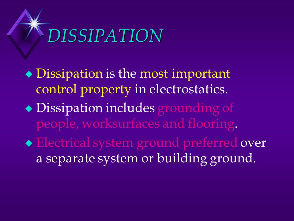 DISSIPATION Dissipation is the most important control property in electrostatics.