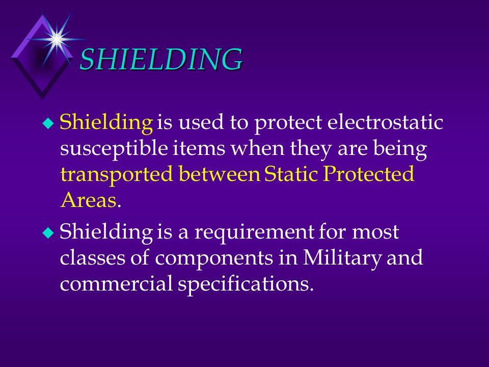 SHIELDING Shielding is used to protect electrostatic susceptible items when they are being transported between Static Protected Areas.