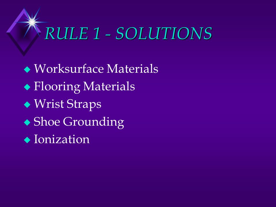 RULE 1 - SOLUTIONS Worksurface Materials Flooring Materials
