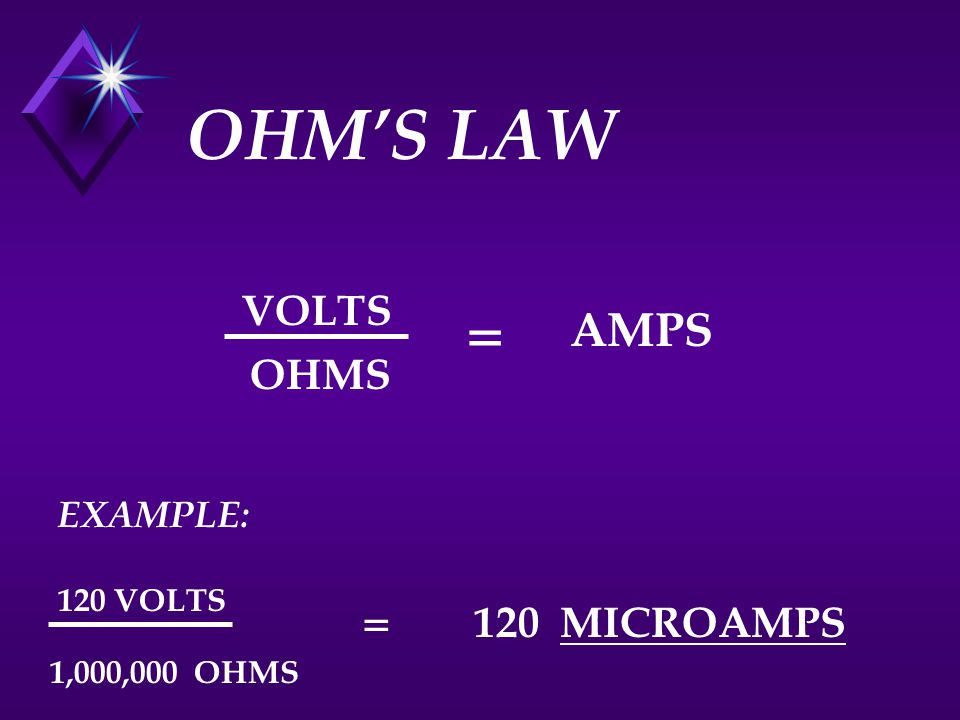 OHM'S LAW = AMPS = VOLTS OHMS 120 MICROAMPS EXAMPLE: 120 VOLTS
