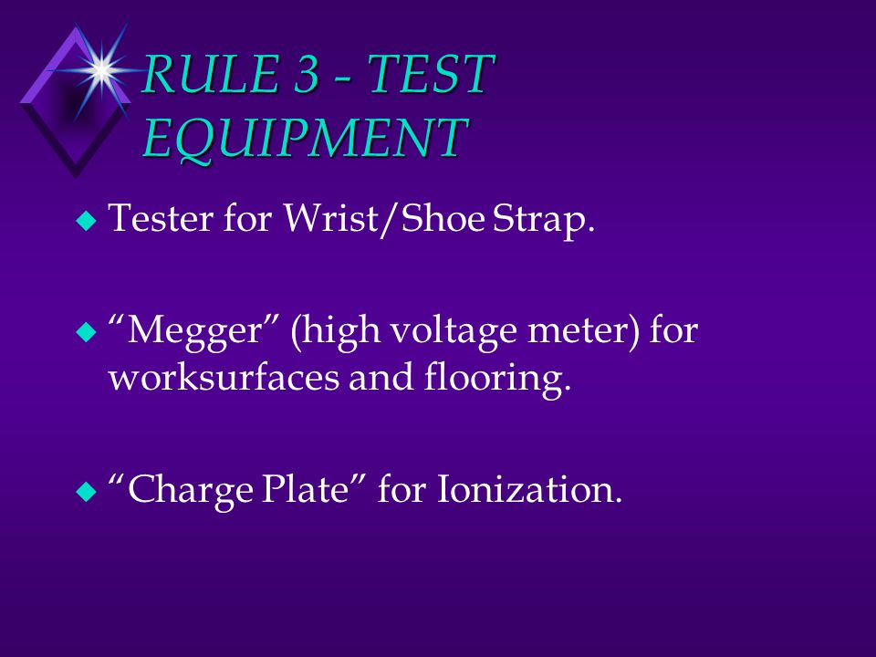 RULE 3 - TEST EQUIPMENT Tester for Wrist/Shoe Strap.