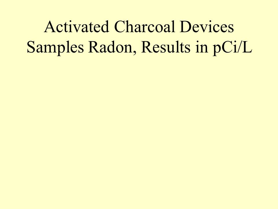 Activated Charcoal Devices Samples Radon, Results in pCi/L