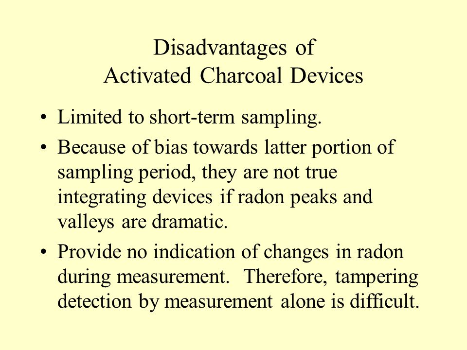 Disadvantages of Activated Charcoal Devices