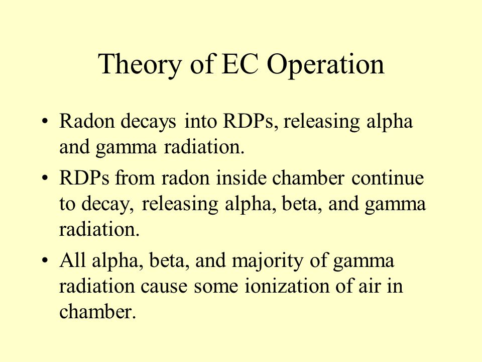 Theory of EC Operation Radon decays into RDPs, releasing alpha and gamma radiation.